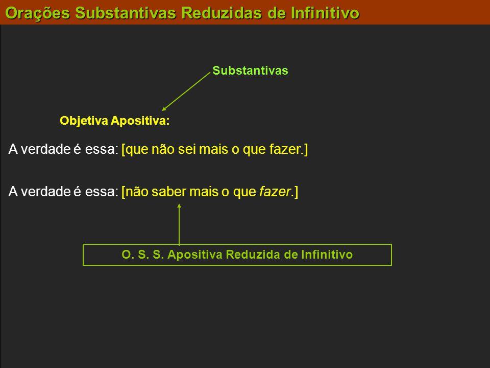 Substantivas Objetiva Apositiva: A verdade é essa: [não saber mais o que fazer.] A verdade é essa: [que não sei mais o que fazer.] O. S. S. Apositiva