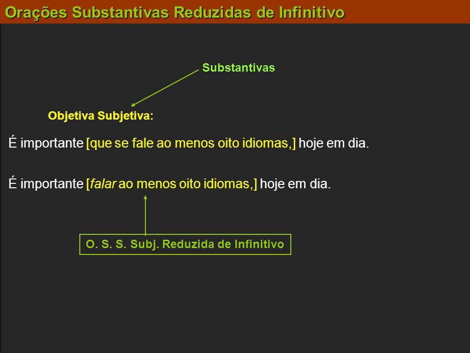 Substantivas Objetiva Subjetiva: É importante [falar ao menos oito idiomas,] hoje em dia. É importante [que se fale ao menos oito idiomas,] hoje em di