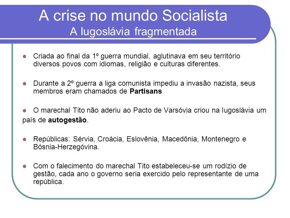 A crise no mundo Socialista A Iugoslávia fragmentada  Criada ao final da 1º guerra mundial, aglutinava em seu território diversos povos com idiomas,