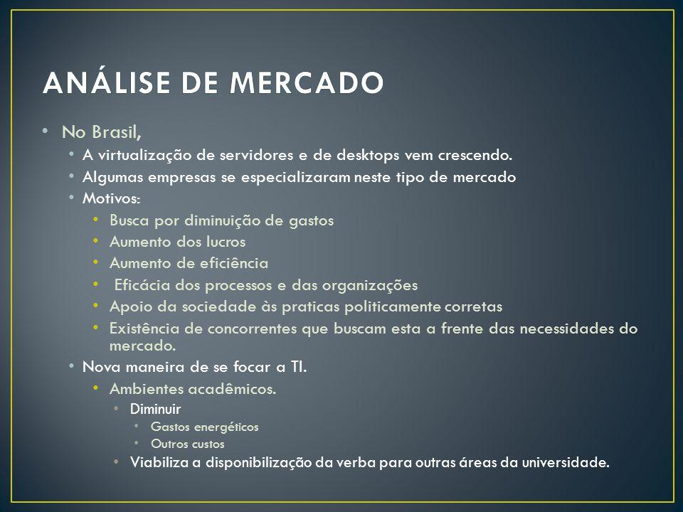 • No Brasil, • A virtualização de servidores e de desktops vem crescendo.