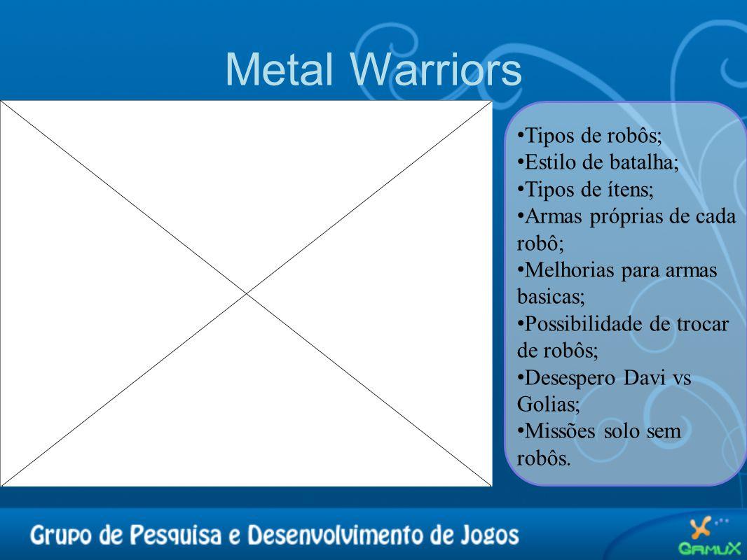 Metal Warriors • Tipos de robôs; • Estilo de batalha; • Tipos de ítens; • Armas próprias de cada robô; • Melhorias para armas basicas; • Possibilidade