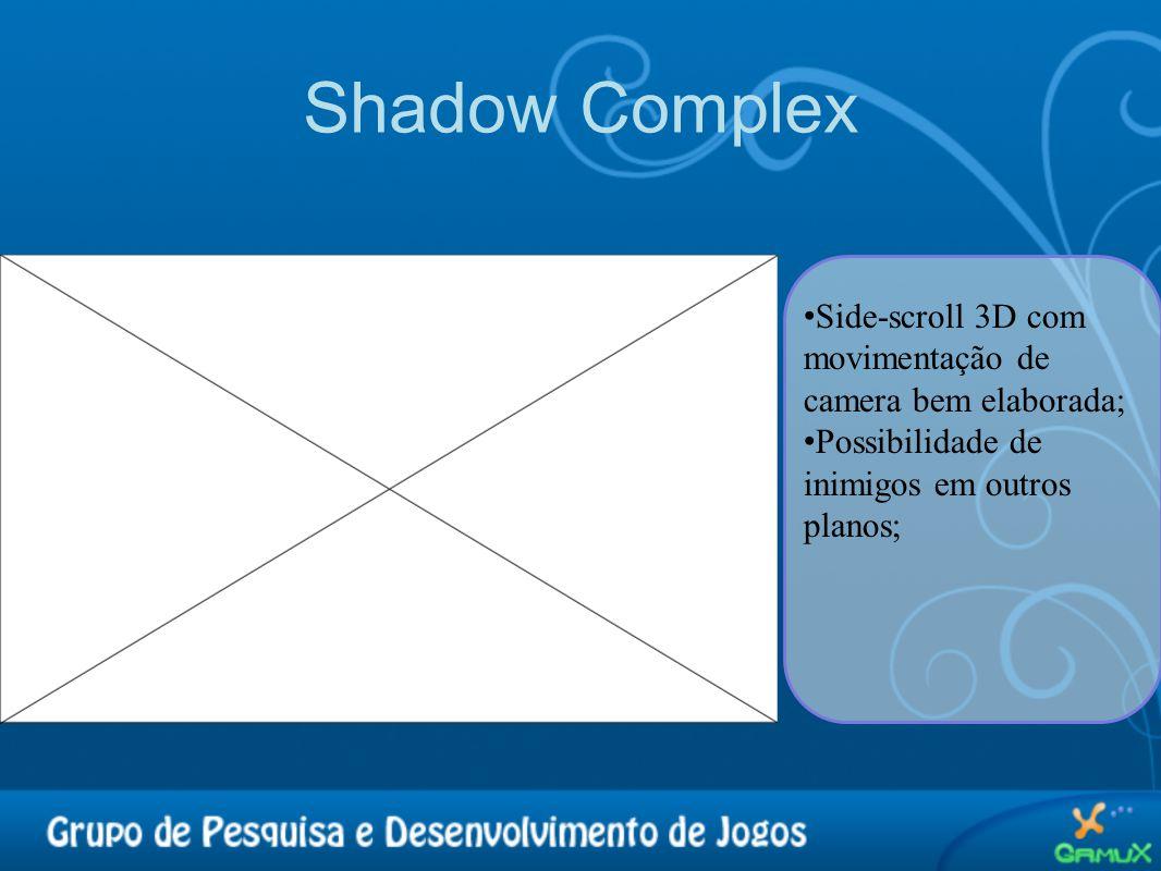 Shadow Complex • Side-scroll 3D com movimentação de camera bem elaborada; • Possibilidade de inimigos em outros planos;