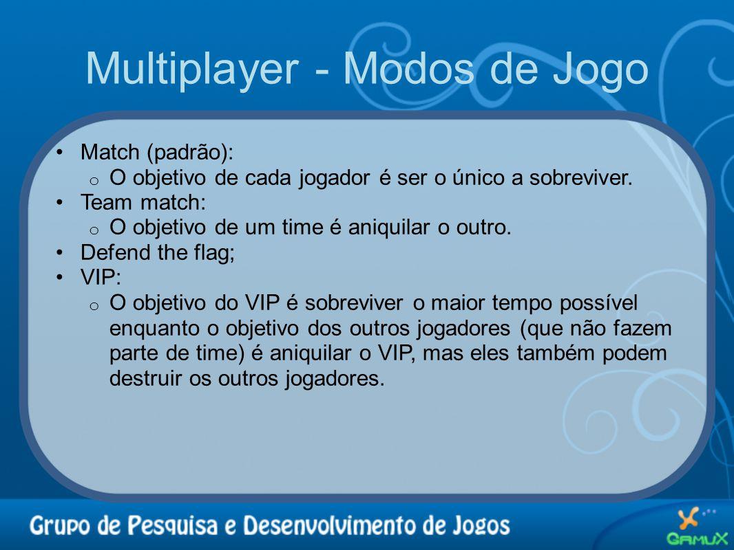 Multiplayer - Modos de Jogo •Match (padrão): o O objetivo de cada jogador é ser o único a sobreviver. •Team match: o O objetivo de um time é aniquilar