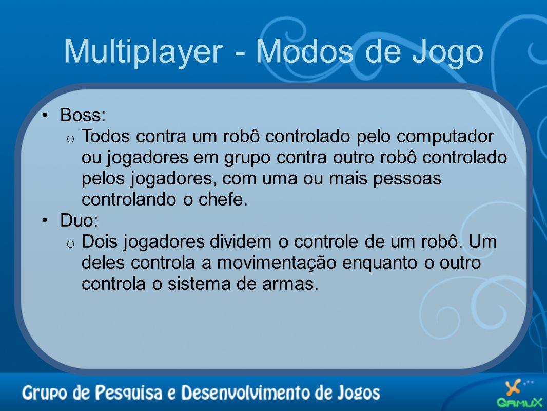 Multiplayer - Modos de Jogo •Boss: o Todos contra um robô controlado pelo computador ou jogadores em grupo contra outro robô controlado pelos jogadore