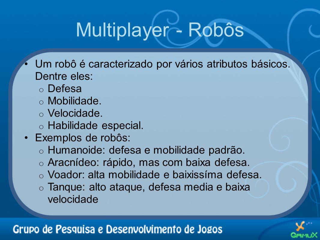 Multiplayer - Robôs •Um robô é caracterizado por vários atributos básicos. Dentre eles: o Defesa o Mobilidade. o Velocidade. o Habilidade especial. •E