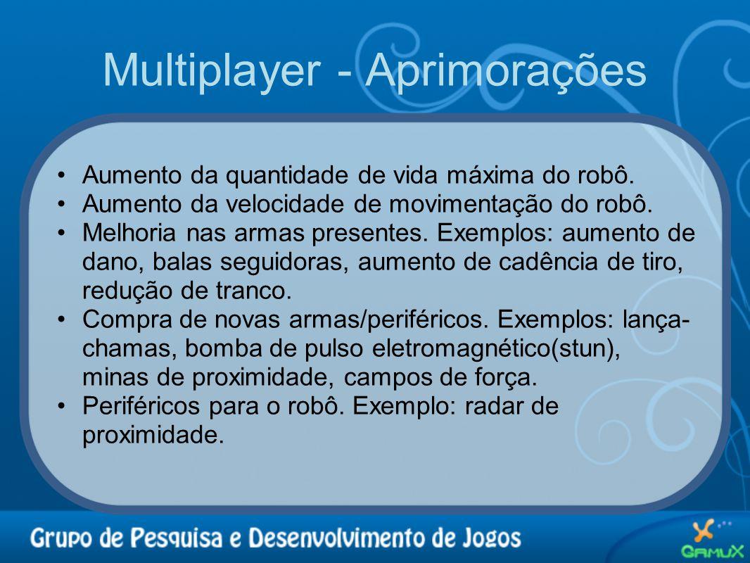 Multiplayer - Aprimorações •Aumento da quantidade de vida máxima do robô. •Aumento da velocidade de movimentação do robô. •Melhoria nas armas presente