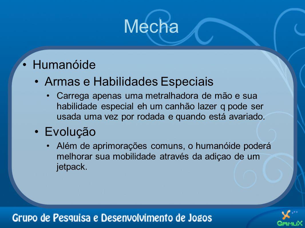 Mecha •Humanóide •Armas e Habilidades Especiais •Carrega apenas uma metralhadora de mão e sua habilidade especial eh um canhão lazer q pode ser usada