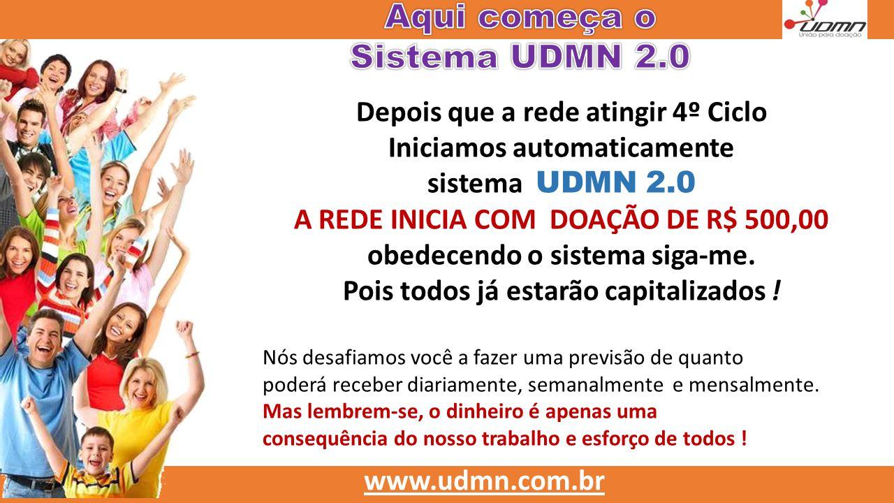 Depois que a rede atingir 4º Ciclo Iniciamos automaticamente sistema UDMN 2.0 A REDE INICIA COM DOAÇÃO DE R$ 500,00 obedecendo o sistema siga-me. Pois