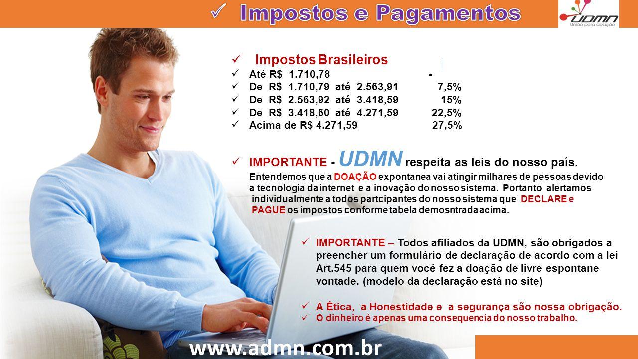 www.admn.com.br  Impostos Brasileiros  Até R$ 1.710,78 -  De R$ 1.710,79 até 2.563,91 7,5%  De R$ 2.563,92 até 3.418,59 15%  De R$ 3.418,60 até 4