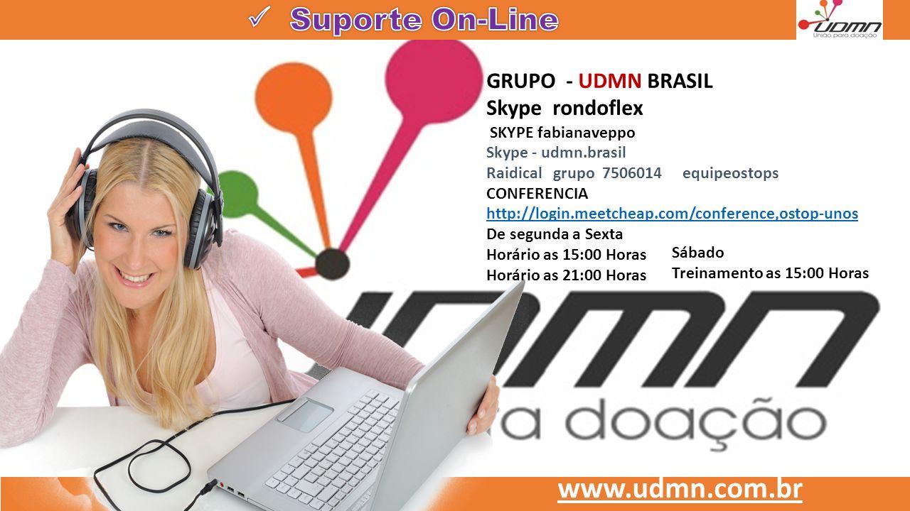 www.udmn.com.br GRUPO - UDMN BRASIL Skype rondoflex SKYPE fabianaveppo Skype - udmn.brasil Raidical grupo 7506014 equipeostops CONFERENCIA http://logi