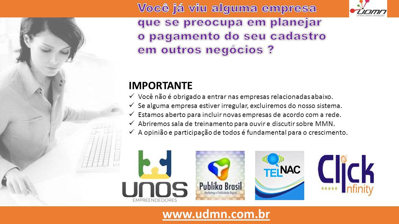  Quebramos o paradígma  Único projeto que criou apenas um link para todos se cadastrarem… www.udmn.com.br Rede LINEAR com sistema RONDOMETRO.