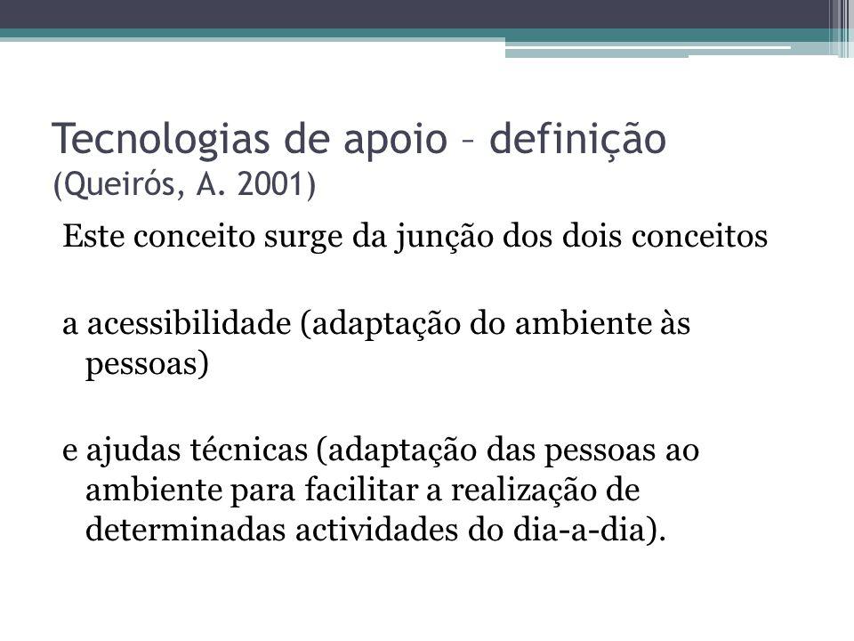 Tecnologias de apoio – definição (Queirós, A. 2001) Este conceito surge da junção dos dois conceitos a acessibilidade (adaptação do ambiente às pessoa