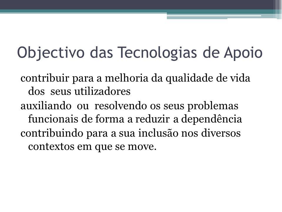 Objectivo das Tecnologias de Apoio contribuir para a melhoria da qualidade de vida dos seus utilizadores auxiliando ou resolvendo os seus problemas fu