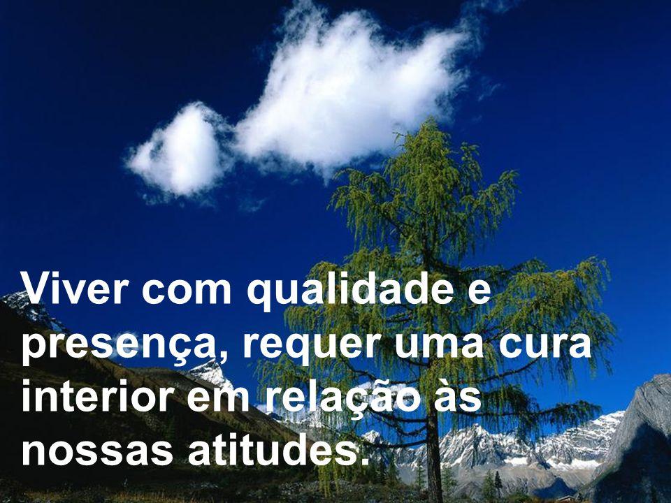 Viver com qualidade e presença, requer uma cura interior em relação às nossas atitudes.