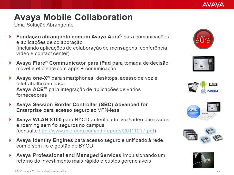 © 2012 Avaya. Todos os direitos reservados. 17 Avaya Mobile Collaboration Uma Solução Abrangente  Fundação abrangente comum Avaya Aura ® para comunic