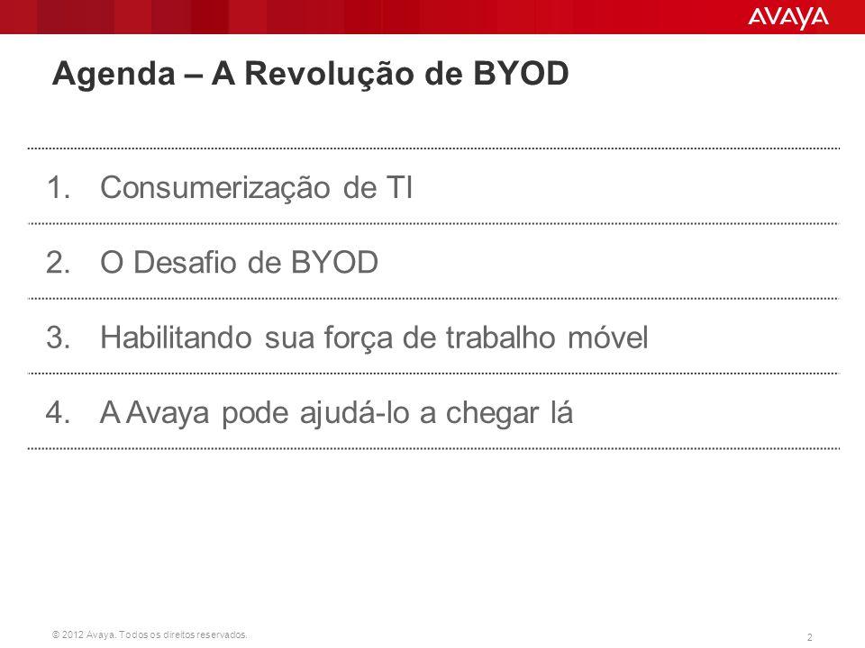 © 2012 Avaya. Todos os direitos reservados. 2 Agenda – A Revolução de BYOD 1.Consumerização de TI 2. O Desafio de BYOD 3.Habilitando sua força de trab