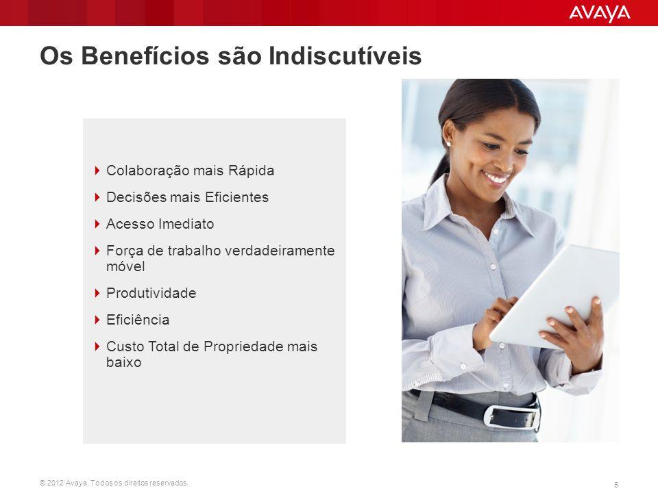 © 2012 Avaya. Todos os direitos reservados. 5 Os Benefícios são Indiscutíveis  Colaboração mais Rápida  Decisões mais Eficientes  Acesso Imediato 