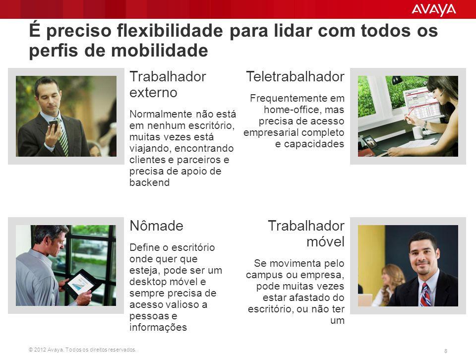 © 2012 Avaya. Todos os direitos reservados. 8 É preciso flexibilidade para lidar com todos os perfis de mobilidade Trabalhador externo Normalmente não