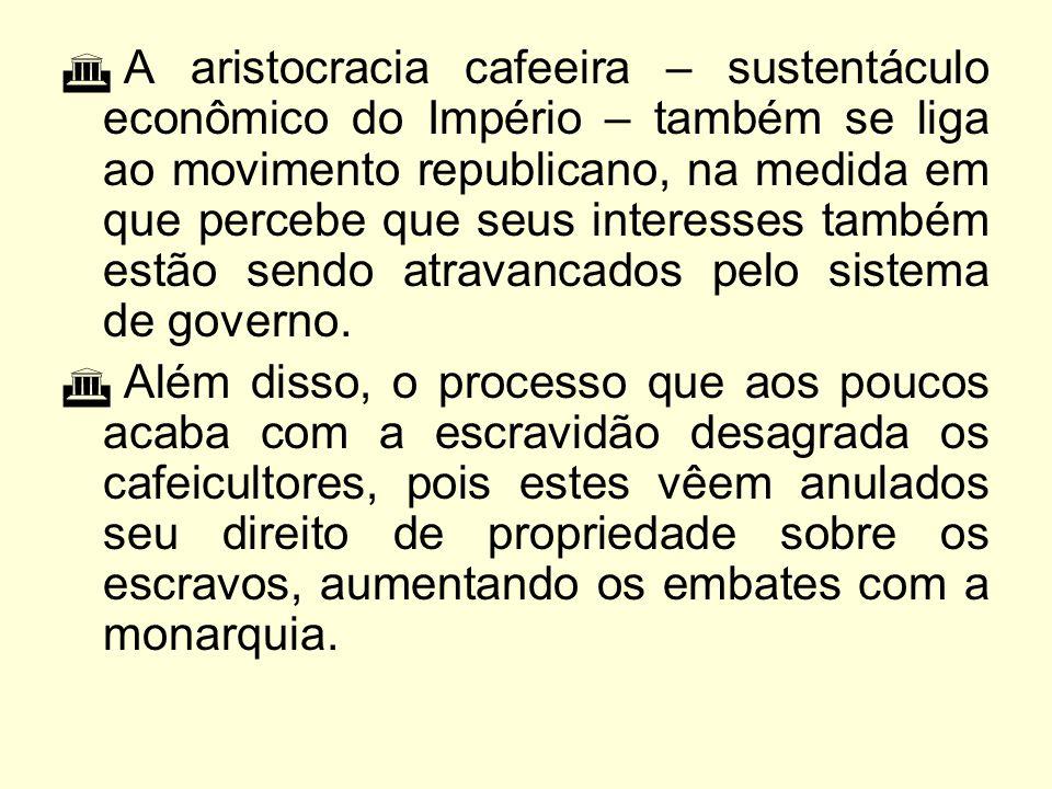A queda da monarquia  Com o retorno dos soldados da Guerra do Paraguai as críticas ao sistema escravista aumentavam com o prestígio dos combatentes, que exigiam melhores posições políticas, mas D.