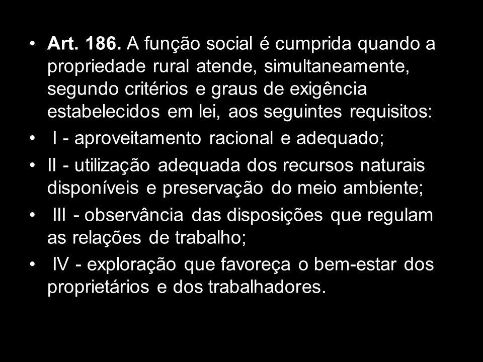 Constituição da República Federativa do Brasil, promulgada em 5 de outubro de 1988 Capítulo III III - DA POLÍTICA AGRÍCOLA E FUNDIÁRIA E DA REFORMA AGRÁRIA (ART.