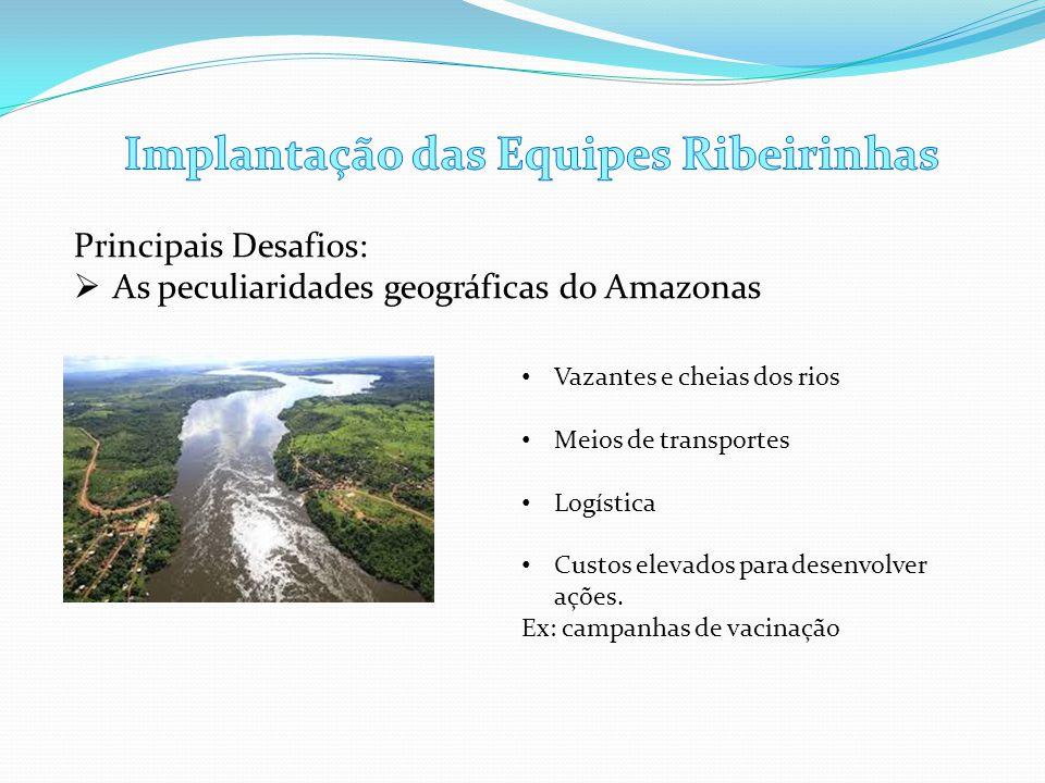 Principais Desafios:  As peculiaridades geográficas do Amazonas • Vazantes e cheias dos rios • Meios de transportes • Logística • Custos elevados par