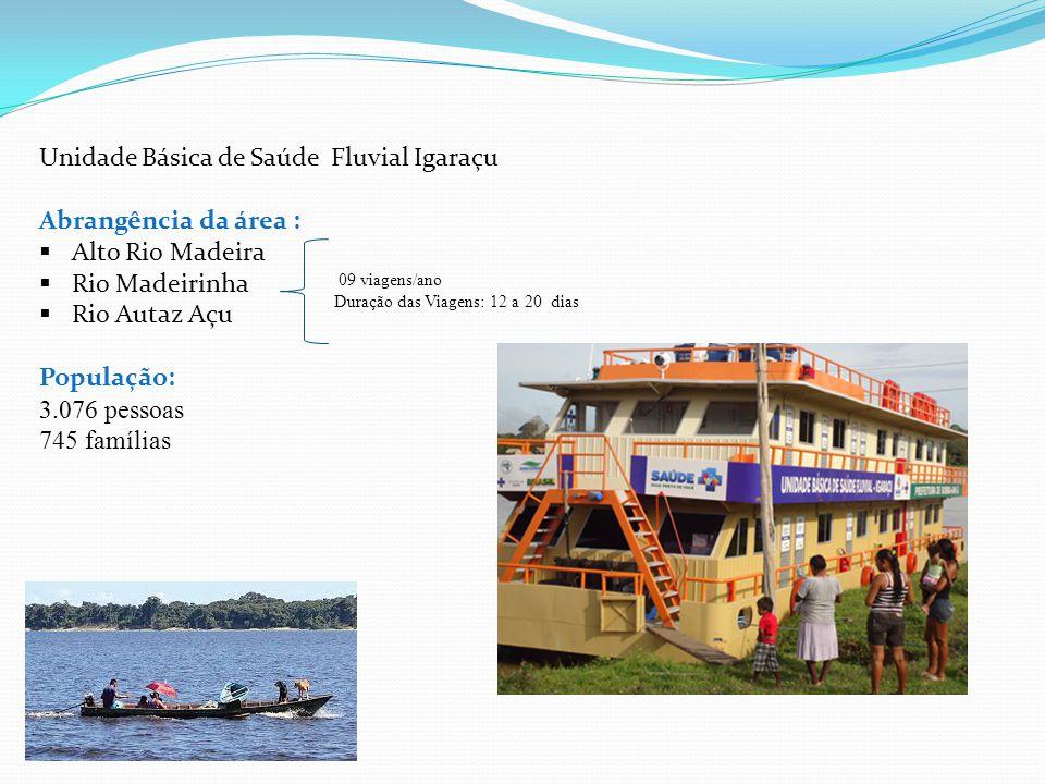 Unidade Básica de Saúde Fluvial Igaraçu Abrangência da área :  Alto Rio Madeira  Rio Madeirinha  Rio Autaz Açu População: 3.076 pessoas 745 família