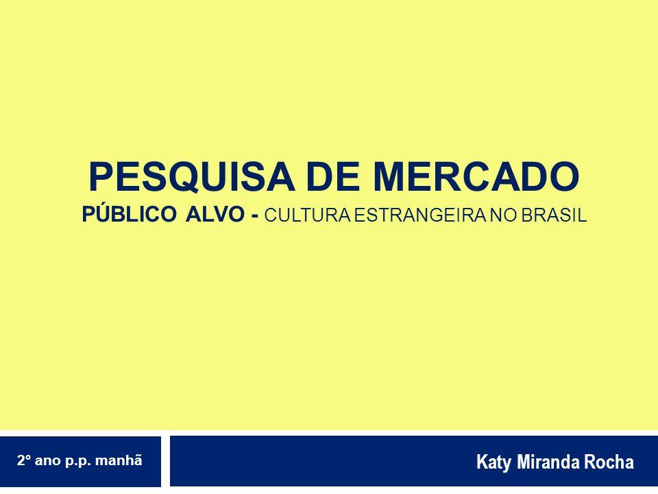 PESQUISA DE MERCADO PÚBLICO ALVO - CULTURA ESTRANGEIRA NO BRASIL Katy Miranda Rocha 2° ano p.p. manhã