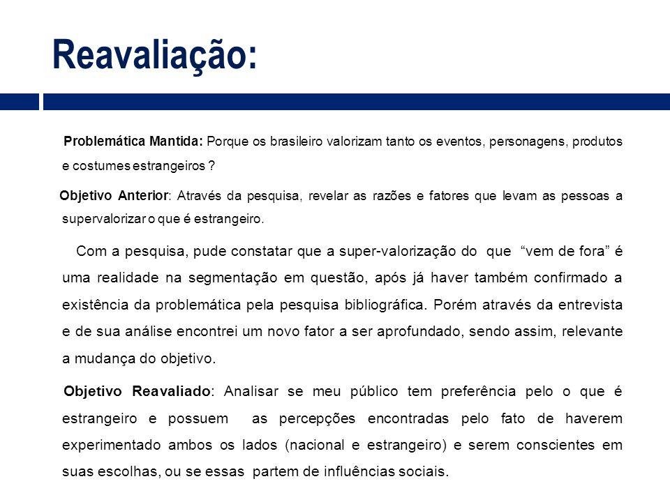 Reavaliação: Problemática Mantida: Porque os brasileiro valorizam tanto os eventos, personagens, produtos e costumes estrangeiros ? Objetivo Anterior: