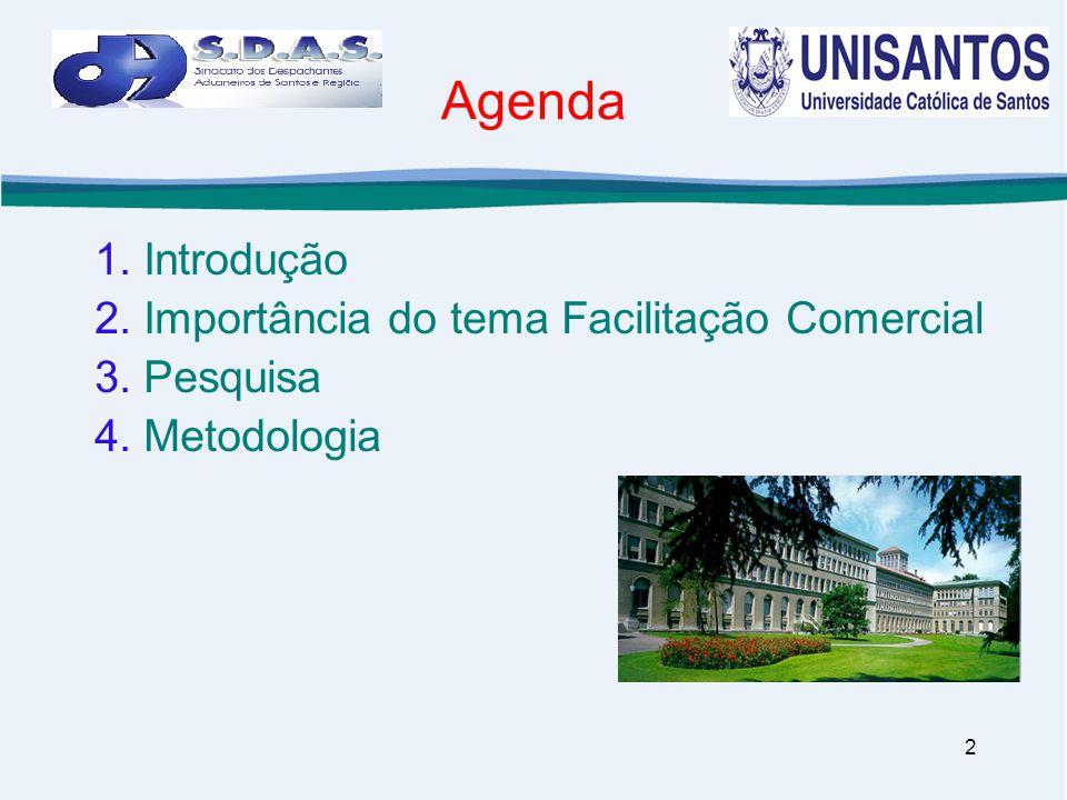 2 Agenda 1. Introdução 2. Importância do tema Facilitação Comercial 3. Pesquisa 4. Metodologia