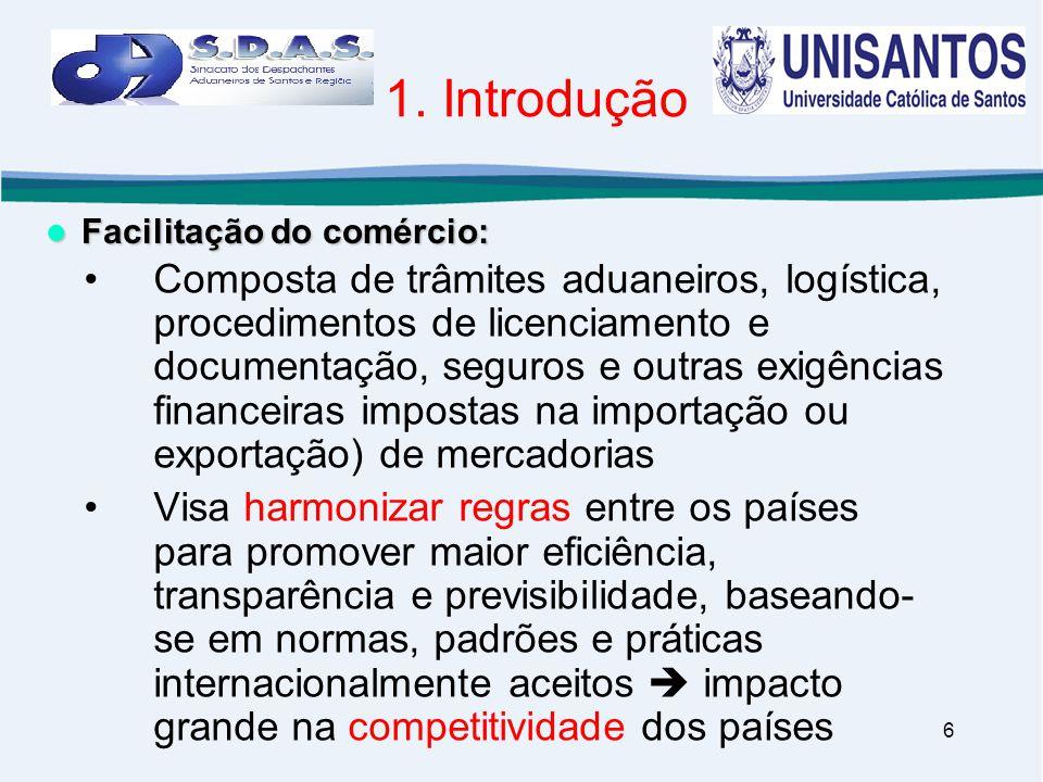6 1. Introdução •Composta de trâmites aduaneiros, logística, procedimentos de licenciamento e documentação, seguros e outras exigências financeiras im