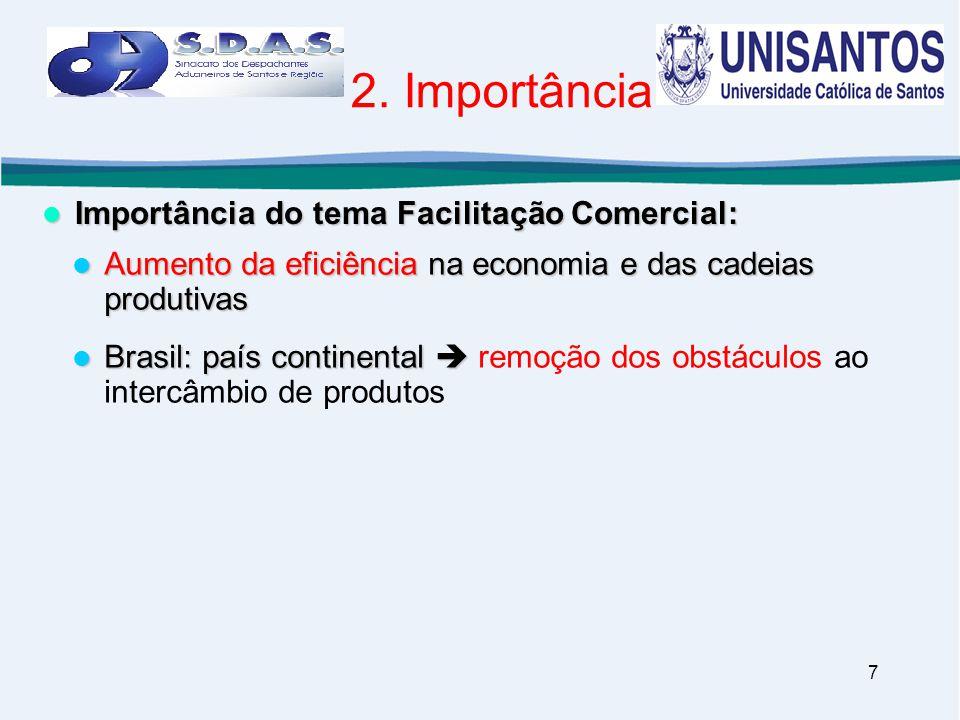 7 2. Importância  Importância do tema Facilitação Comercial:  Aumento da eficiência na economia e das cadeias produtivas  Brasil: país continental