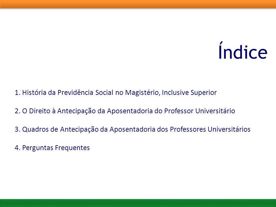 Índice 1. História da Previdência Social no Magistério, Inclusive Superior 2. O Direito à Antecipação da Aposentadoria do Professor Universitário 3. Q