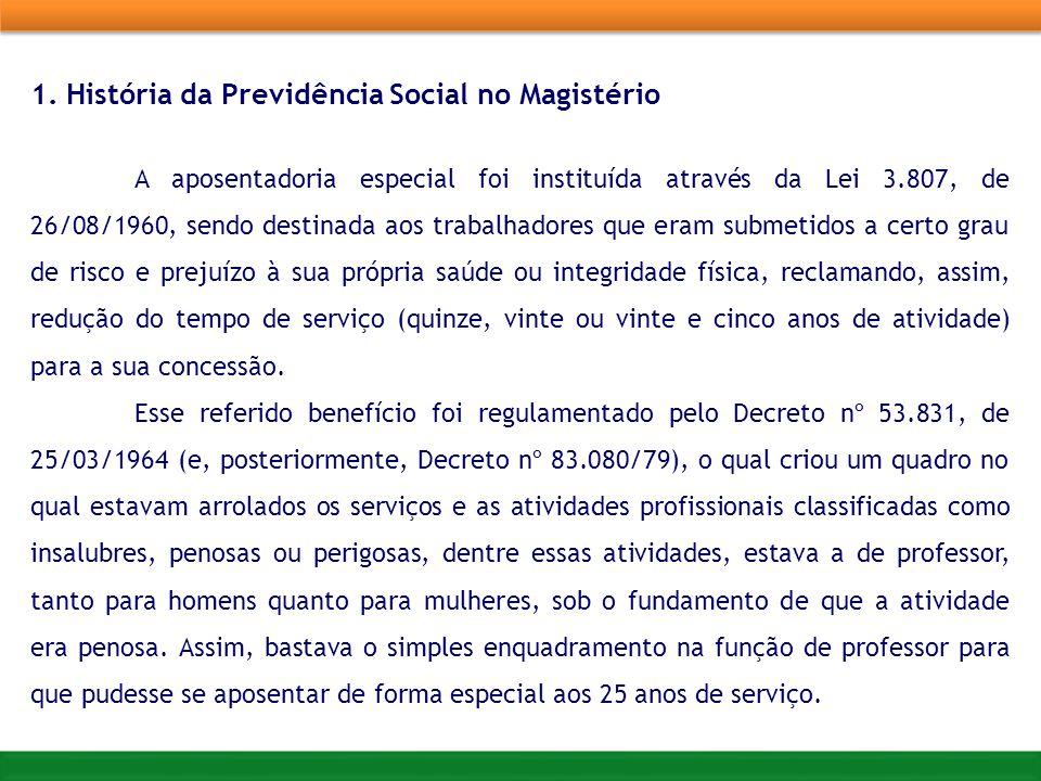 1. História da Previdência Social no Magistério A aposentadoria especial foi instituída através da Lei 3.807, de 26/08/1960, sendo destinada aos traba