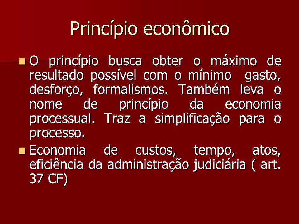 Princípio econômico  O princípio busca obter o máximo de resultado possível com o mínimo gasto, desforço, formalismos. Também leva o nome de princípi