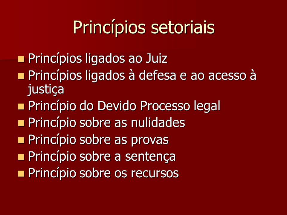 Princípios setoriais  Princípios ligados ao Juiz  Princípios ligados à defesa e ao acesso à justiça  Princípio do Devido Processo legal  Princípio