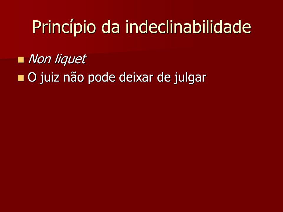 Princípio da indeclinabilidade  Non liquet  O juiz não pode deixar de julgar