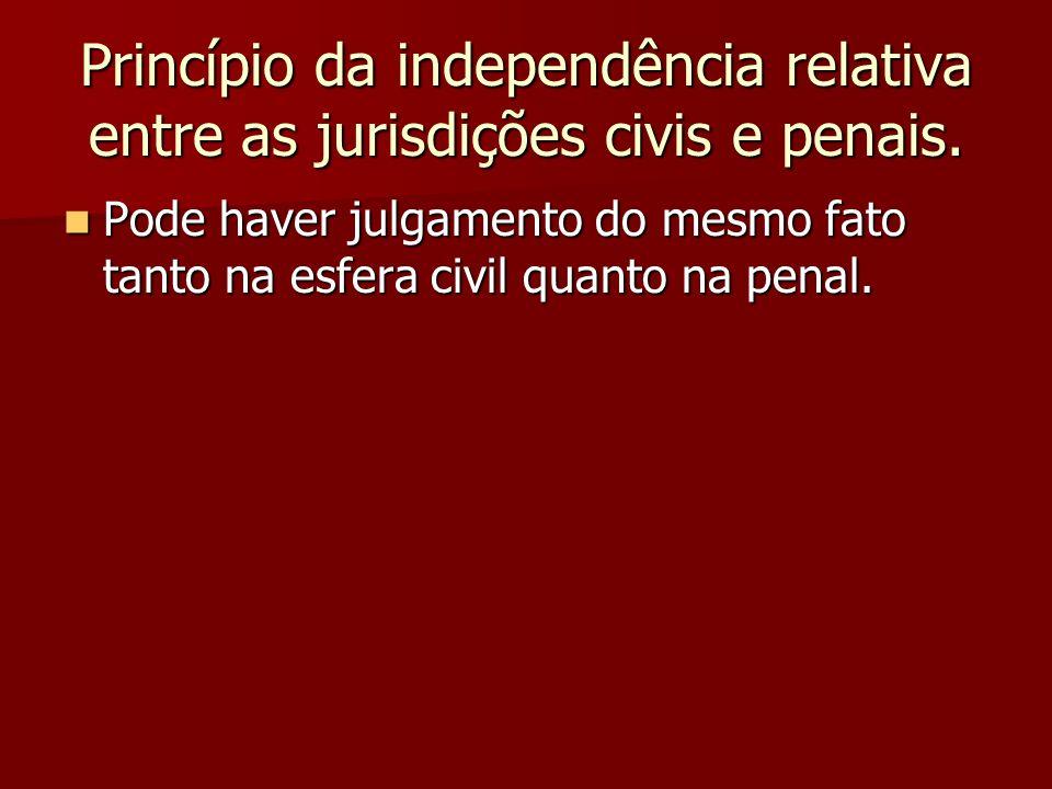 Princípio da independência relativa entre as jurisdições civis e penais.  Pode haver julgamento do mesmo fato tanto na esfera civil quanto na penal.