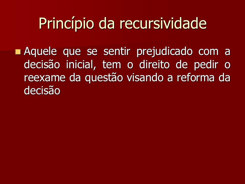 Princípio da recursividade  Aquele que se sentir prejudicado com a decisão inicial, tem o direito de pedir o reexame da questão visando a reforma da