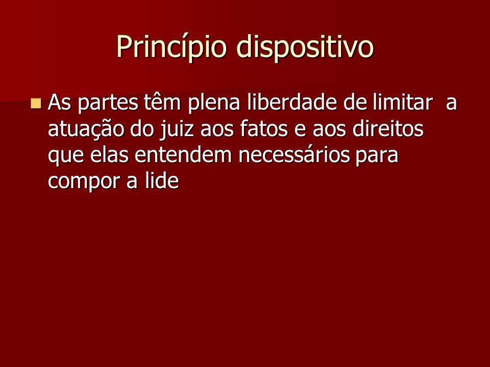Princípio dispositivo  As partes têm plena liberdade de limitar a atuação do juiz aos fatos e aos direitos que elas entendem necessários para compor