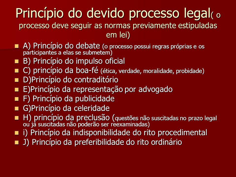 Princípio do devido processo legal ( o processo deve seguir as normas previamente estipuladas em lei)  A) Princípio do debate (o processo possui regr