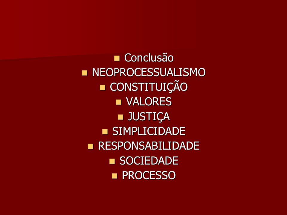  Conclusão  NEOPROCESSUALISMO  CONSTITUIÇÃO  VALORES  JUSTIÇA  SIMPLICIDADE  RESPONSABILIDADE  SOCIEDADE  PROCESSO