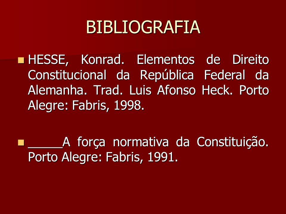 BIBLIOGRAFIA  HESSE, Konrad. Elementos de Direito Constitucional da República Federal da Alemanha. Trad. Luis Afonso Heck. Porto Alegre: Fabris, 1998