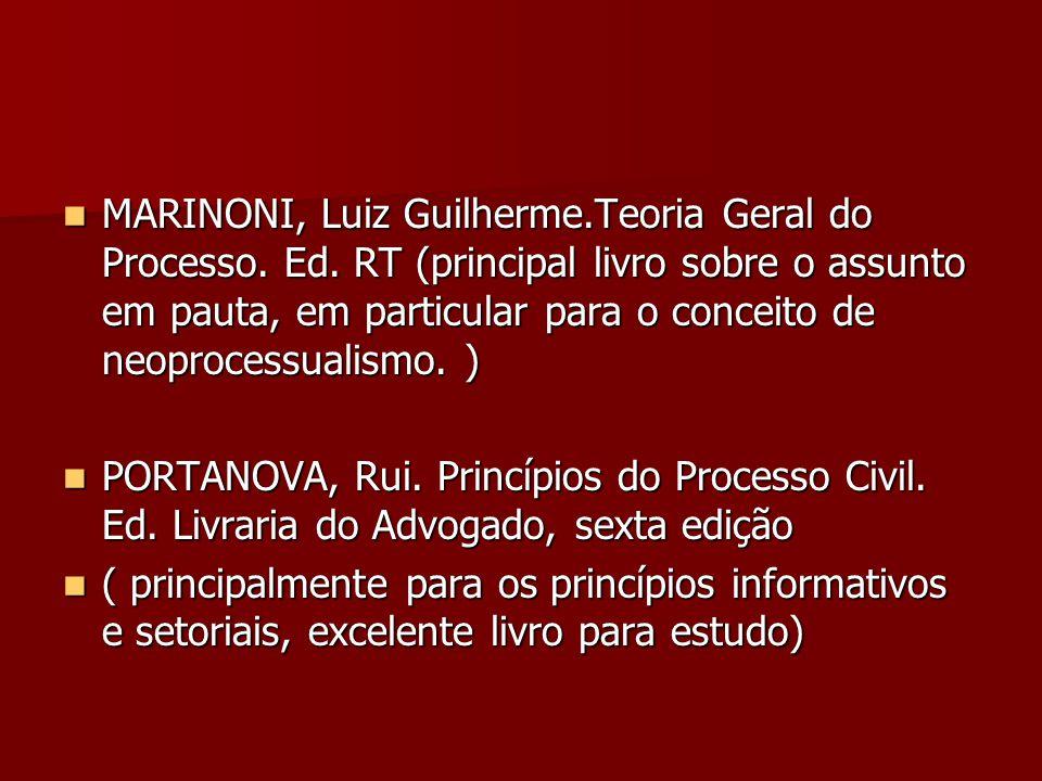  MARINONI, Luiz Guilherme.Teoria Geral do Processo. Ed. RT (principal livro sobre o assunto em pauta, em particular para o conceito de neoprocessuali