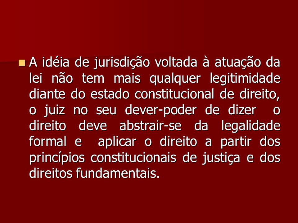  A idéia de jurisdição voltada à atuação da lei não tem mais qualquer legitimidade diante do estado constitucional de direito, o juiz no seu dever-po