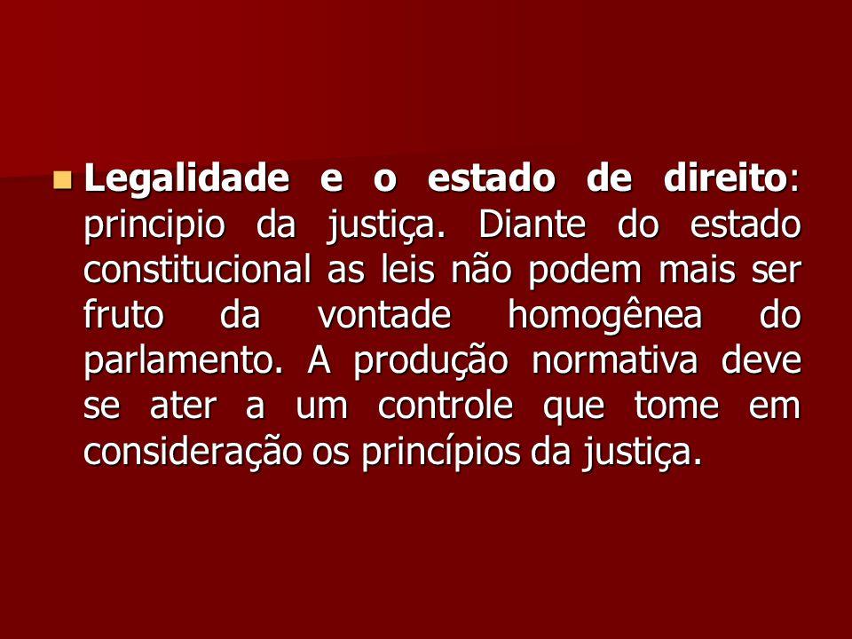  Legalidade e o estado de direito: principio da justiça. Diante do estado constitucional as leis não podem mais ser fruto da vontade homogênea do par