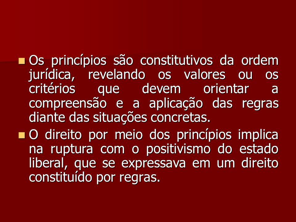  Os princípios são constitutivos da ordem jurídica, revelando os valores ou os critérios que devem orientar a compreensão e a aplicação das regras di