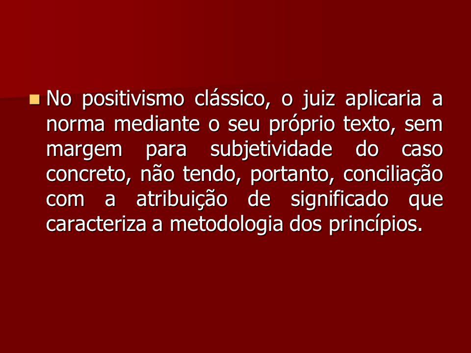  No positivismo clássico, o juiz aplicaria a norma mediante o seu próprio texto, sem margem para subjetividade do caso concreto, não tendo, portanto,