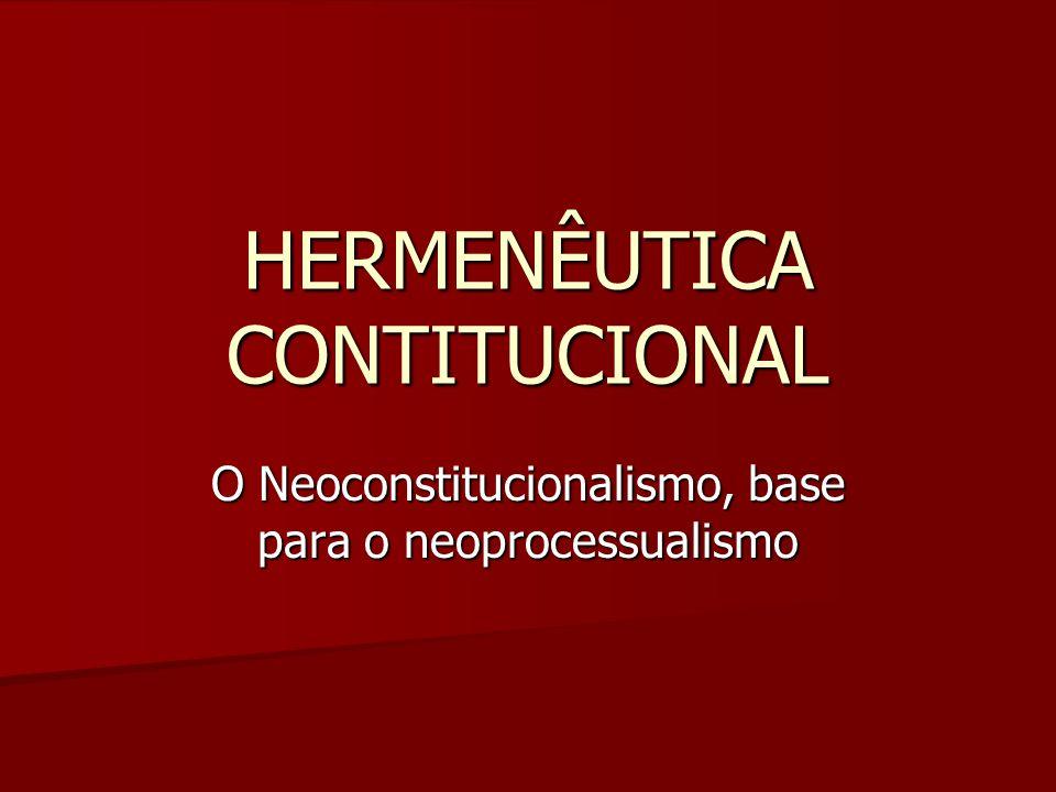 HERMENÊUTICA CONTITUCIONAL O Neoconstitucionalismo, base para o neoprocessualismo
