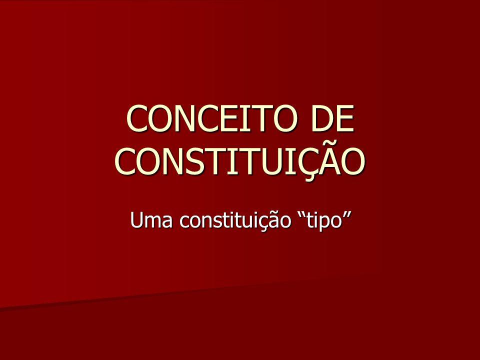 """CONCEITO DE CONSTITUIÇÃO Uma constituição """"tipo"""""""