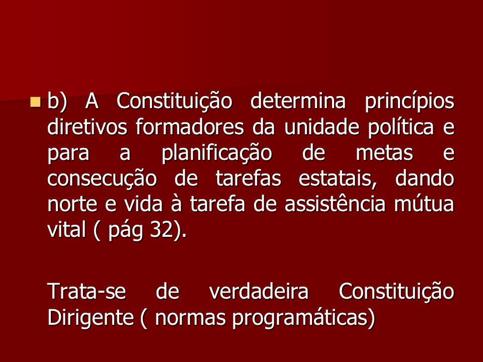  b) A Constituição determina princípios diretivos formadores da unidade política e para a planificação de metas e consecução de tarefas estatais, dan